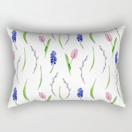 Seamless pattern with watercolor  flowers, tulips, muscari Rectangular Pillow