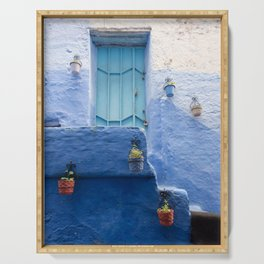 Doors - Chefchaouen IV, The Blue City - Morocco Serving Tray