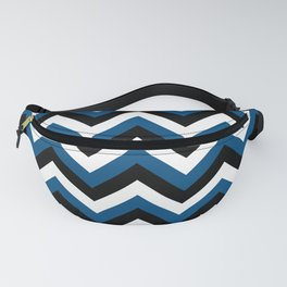 Blue White and Black Chevrons Fanny Pack