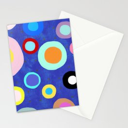 Marine Blue Watercolour Happy Circles Stationery Cards