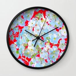 MODERN ART RED WHITE FLORAL GARDEN Wall Clock