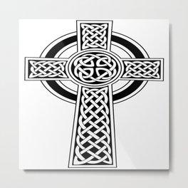 St Patrick's Day Celtic Cross Black and White Metal Print
