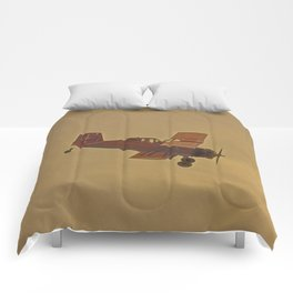 Crop Duster Flying In A Storm Comforters
