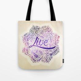 Inspirational Motivational Word Cloud Art in Lotus Tote Bag