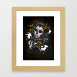 Sugar Skull Tattoo Girl with Butterflies Framed Art Print