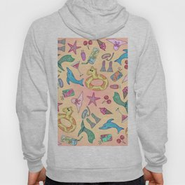Cute Summer Beach and Poolside Illustrations Hoody