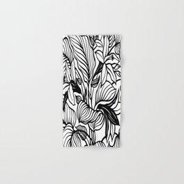 White Black Floral Minimalist Hand & Bath Towel