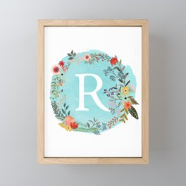 Personalized Monogram Initial Letter R Blue Watercolor Flower Wreath Artwork Framed Mini Art Print