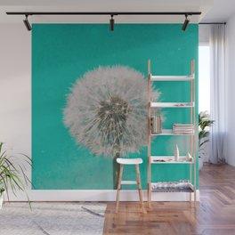 Green Blue Dandelion Wall Mural