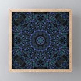 Blue and Black Fractal Kaleidoscope Framed Mini Art Print