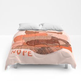 Nope -Red Lazy Cat Comforters