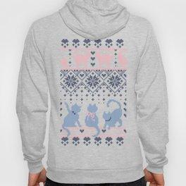 Fair Isle Knitting Cats Love // purple white and pink kitties Hoody