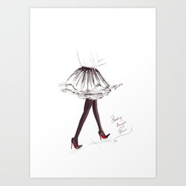 Watercolour Fashion Illustration Titled Strolling through Paris Art Print