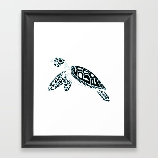 Calligram Sea Turtle Framed Art Print