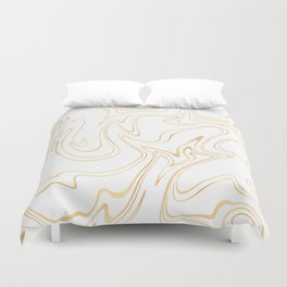 Liquid Gold Marble. Trendy golden ink marbling texture. Suminagashi art. Clear iPhone Case Duvet Cover