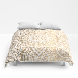 Gold Mandala Pattern Illustration With White Shimmer Comforters