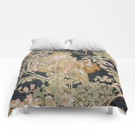 1898 - 1900 Femme a Marguerite by Alphonse Mucha Comforters