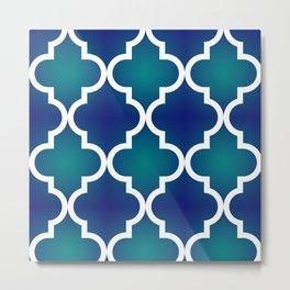 Quatrefoil - Teal and Blue Ombre Metal Print