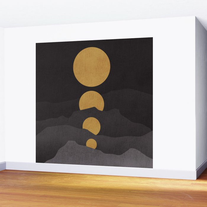 Rise of the golden moon Wall Mural
