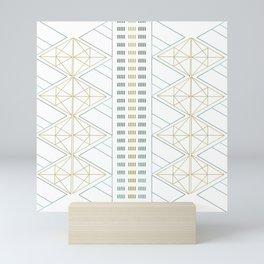Gold Aqua Geometric Pattern 1.0 Mini Art Print