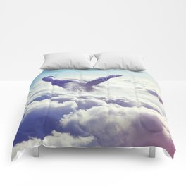 Cloudy whale Comforters