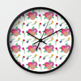 Seamless vector floral pattern, white background, and pink, red, blue and orange flowers Wall Clock