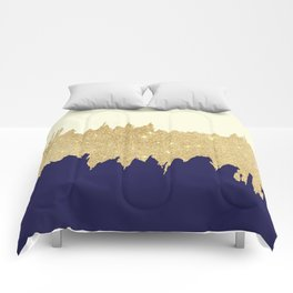 Navy blue ivory faux gold glitter brushstrokes Comforters