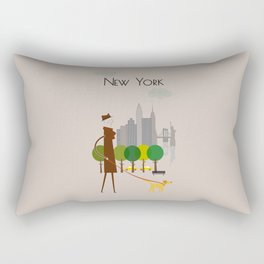 New York - In the City - Retro Travel Poster Design Rectangular Pillow