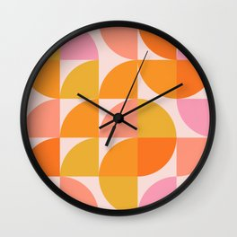 Mid Century Mod Geometry in Pink and Orange Wall Clock