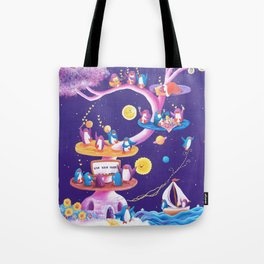 Dream Tree with penguins in a purple starry sky learning how to live their mark Tote Bag