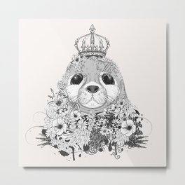little seal with crown Metal Print