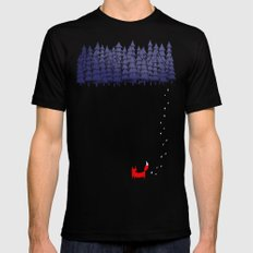 Alone in the forest Mens Fitted Tee Black MEDIUM