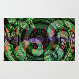 Deep Sensual Polynesian Neo Tribal Floral Mandala Rug