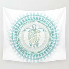 Turquoise Green Turtle And Mandala Wall Tapestry