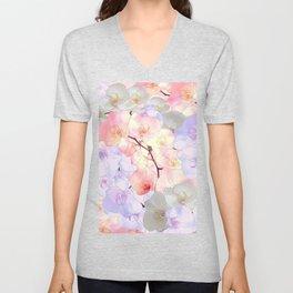 Elegant pink coral lavender white orchid watercolor flowers Unisex V-Neck