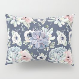 Beautiful Succulent Garden Navy Blue + Pink Pillow Sham