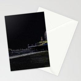 Pitch Black Neon Santa Monica Pier Stationery Cards