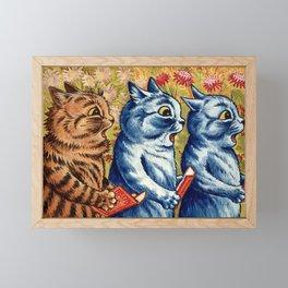 Three cats singing vintage painting Framed Mini Art Print