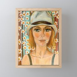 Girl with a hat Framed Mini Art Print