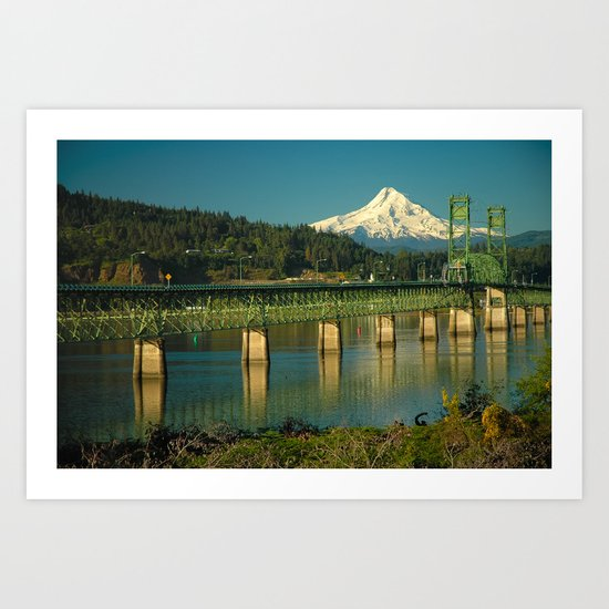 Hood River Bridge and Mount Hood Art Print