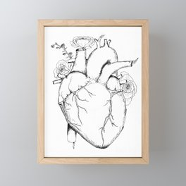 Black and White Anatomical Heart Framed Mini Art Print
