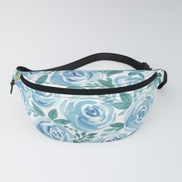 Pale blue roses . Watercolor . Fanny Pack