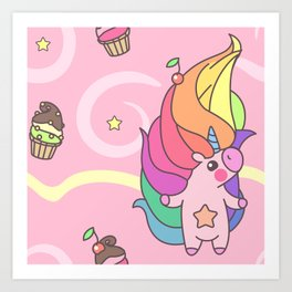 "Vector pattern series of ""Unicorns time"". Art for kids. Art Print"