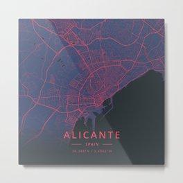 Alicante, Spain - Neon Metal Print