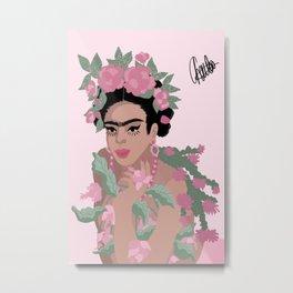 Frida Khalo & Pink Flowers Metal Print