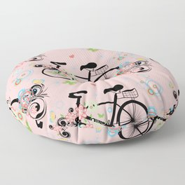 Bicycle and Colorful Floral Ornament Floor Pillow