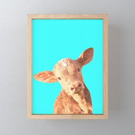 Baby Cow Turquoise Background Framed Mini Art Print