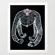 ape and his little friend Art Print