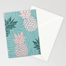Summer, Pineapple Art, Pink, Turquoise, Teal Stationery Cards