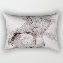 Nude woman pencil drawing Rectangular Pillow